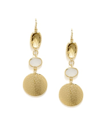 Accessorize Gold-Toned & White Stone-Studded Drop Earrings at myntra