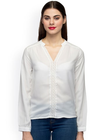 Oxolloxo Women White Solid Semi-Sheer Top at myntra