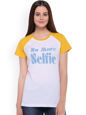 Club York Women White & Yellow Printed Round Neck T-shirt at myntra