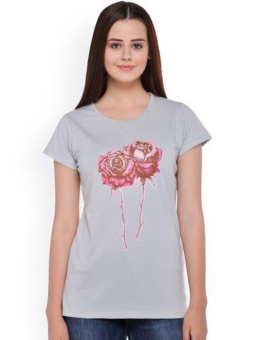 Club York Women Grey Printed Round Neck T-shirt at myntra