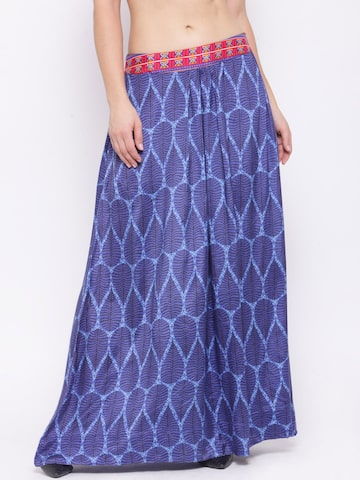 Global Desi Blue Printed Maxi Flared Skirt at myntra