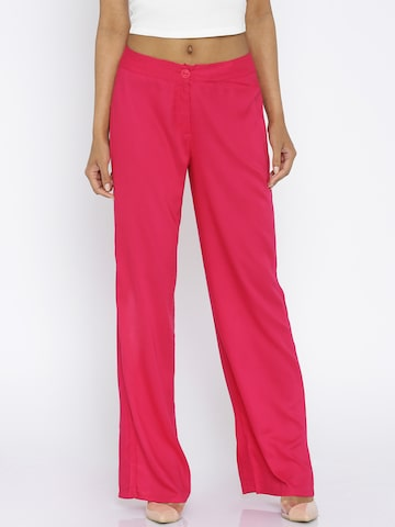Global Desi Women Pink Solid Trousers at myntra