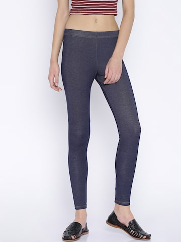 Global Desi Navy Leggings at myntra