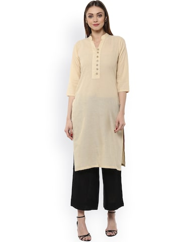 Libas Women Beige Solid Straight Kurta at myntra