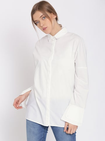 MANGO Women White Embroidered Back Longline Casual Shirt at myntra