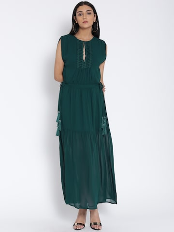 MANGO Women Teal Green Solid Panelled Maxi Dress at myntra