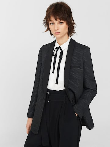 MANGO Black Patterned Shimmer Single-Breasted Casual Blazer at myntra