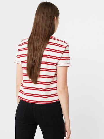 MANGO Women Off-White & Red Striped Round Neck T-shirt at myntra