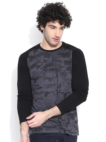 CULT FICTION Men Charcoal Printed Round Neck T-shirt at myntra