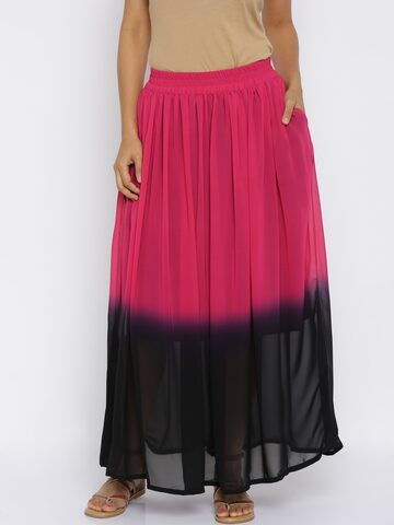 Global Desi Pink & Black Ombre-Dyed Flared Maxi Skirt at myntra