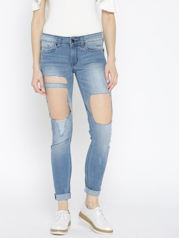 Pepe Jeans Women Blue Regular Fit Mid-Rise Highly Distressed Stretchable Jeans Pepe Jeans Jeans at myntra
