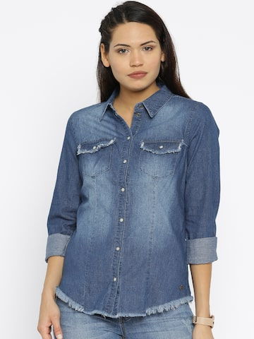 ONLY Women Blue Solid Casual Denim Shirt at myntra