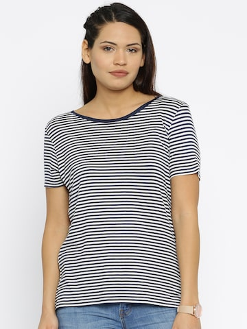 ONLY Women White StripedT-shirt at myntra