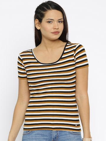 ONLY Women Off-White & Black Striped T-shirt at myntra