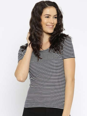 ONLY Women Navy Blue Striped T-shirt at myntra