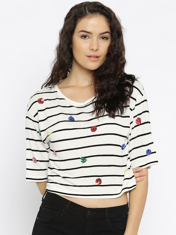 ONLY Women White Striped Crop T-shirt at myntra