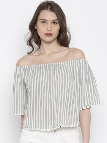 Deal Jeans Women White & Black Striped Bardot Top at myntra