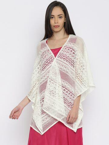 Akkriti by Pantaloons White Lace Sheer Shrug at myntra