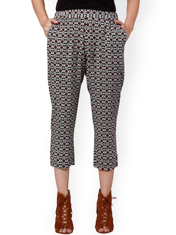 Oxolloxo Black & Brown Printed Trousers at myntra
