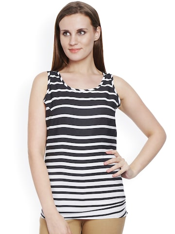 Bombay High Black & White Striped Top at myntra