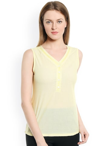 Bombay High Yellow & White Striped Top at myntra