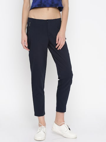 Vero Moda Women Navy Solid Cigarette Trousers at myntra