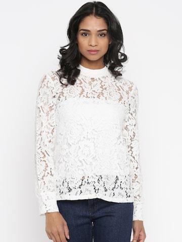 Vero Moda White Lace Top at myntra