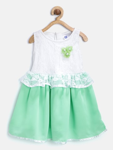 612 league Girls White & Green Lace Fit & Flare Dress at myntra