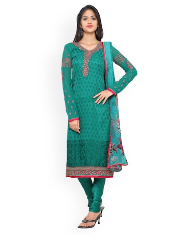 Vishal Prints Green Brasso Embroidered Semi-Stitched Dress Material at myntra