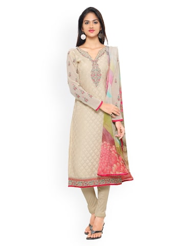 Vishal Prints Beige & Pink Brasso Embroidered Semi-stitched Dress Material at myntra