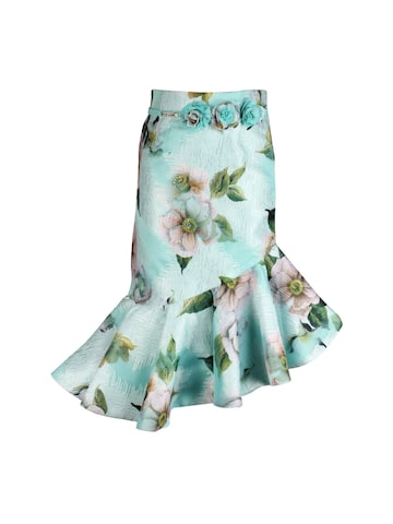 CUTECUMBER Girls Sea Green Floral Print Trumpet Midi Skirt at myntra