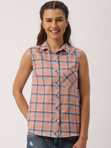 DressBerry Women Peach & Blue Checked Casual Shirt at myntra