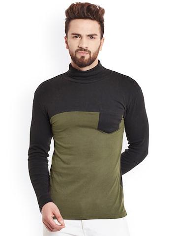 Hypernation Men Black & Olive Green Colourblocked Slim Fit T-shirt at myntra