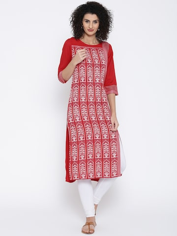 AURELIA Women Red Woven Design Straight Kurta at myntra