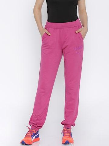 PUMA Pink Regular Fit Athletic Jogger Track Pants at myntra