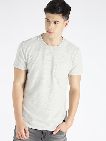 s.Oliver Men Grey Melange Slim Fit Solid Round Neck T-shirt at myntra