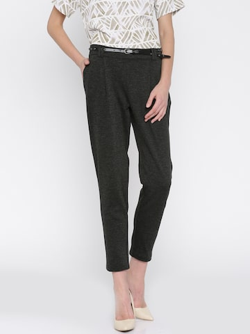 Vero Moda Women Charcoal Grey Solid Peg Trousers at myntra