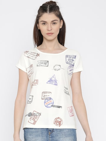 Vero Moda White Printed Round Neck T-shirt at myntra