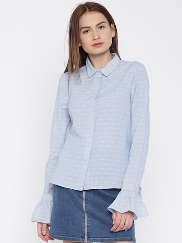 Vero Moda Women Blue & White Regular Fit Striped Casual Shirt at myntra