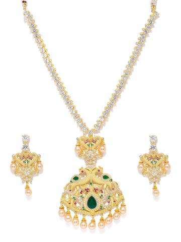 Zaveri Pearls Gold-Toned Designer Peacock Jewellery Set at myntra