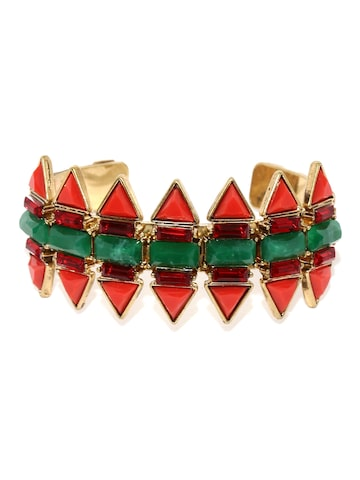 Golden Peacock Antique Gold-Plated & Red Stone-Studded Cuff Bracelet at myntra