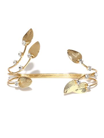 Golden Peacock Gold-Plated Leaf-shaped Embellished Cuff Bracelet at myntra
