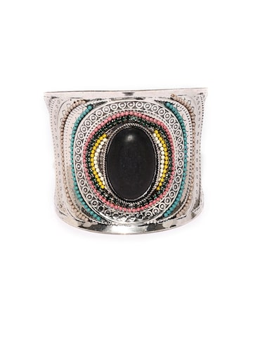 Golden Peacock Silver-Toned & Black Embellished Cuff Bracelet at myntra