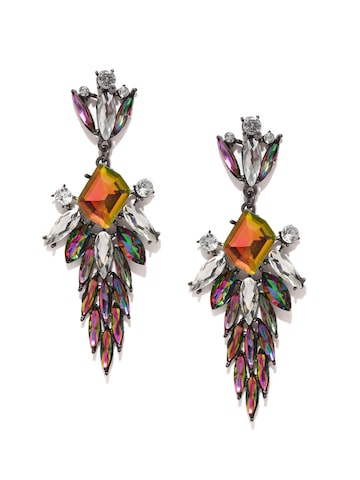 Golden Peacock Multicoloured Embellished Drop Earrings at myntra