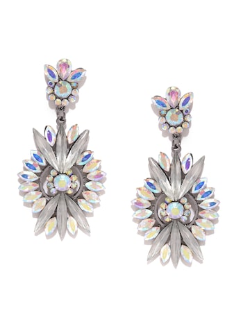 Golden Peacock Silver-Plated Embellished Drop Earrings with Iridescent Effect at myntra