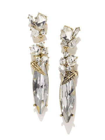 Golden Peacock White Gold-Plated Embellished Drop Earrings at myntra