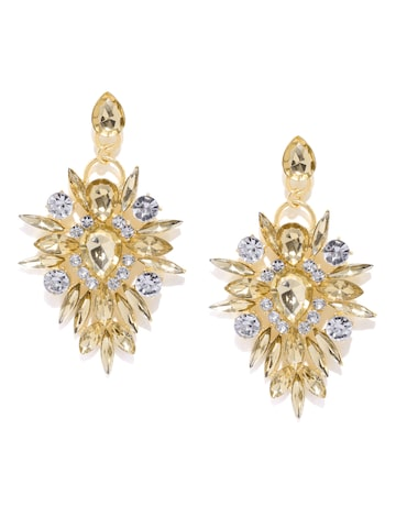 Golden Peacock Gold-Plated Embellished Drop Earrings at myntra