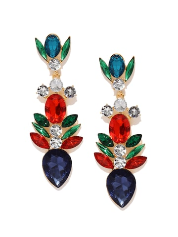 Golden Peacock Multicoloured Gold-Plated Embellished Drop Earring at myntra