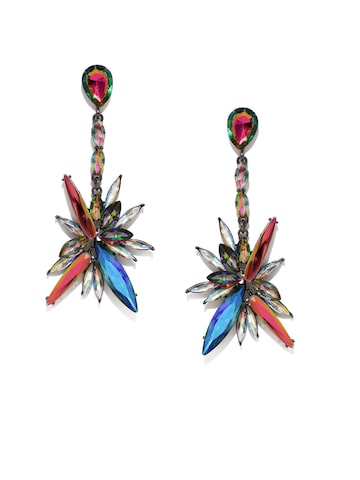Golden Peacock Multicoloured Silver-Plated Crystal Embellished Earrings at myntra