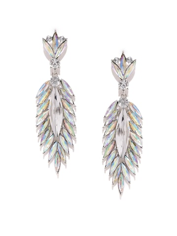 Golden Peacock Silver-Plated Leaf-Shaped Embellished Drop Earrings at myntra